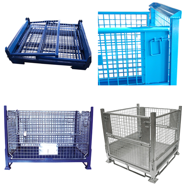 Warehouse galvanized foldable welded metal stackable steel wire mesh pallet auto parts storage stillage cage