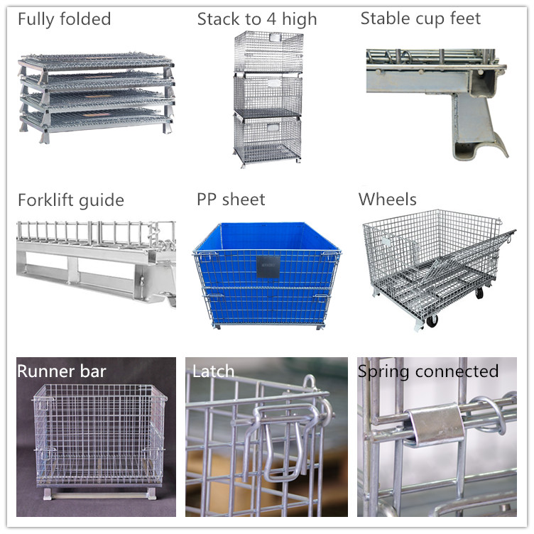 American Industrial material handling stackable welded steel transport metal wire mesh pallet cage with forklift