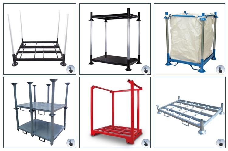 Warehouse logistics powder heavy duty quakeproof stackable forklift storage steel metal frame pallet nestainer rack