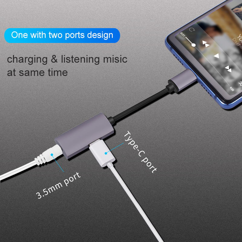 2 IN 1 Type c audio adapter with power delivery and usb convertor for 35mm earphone jack