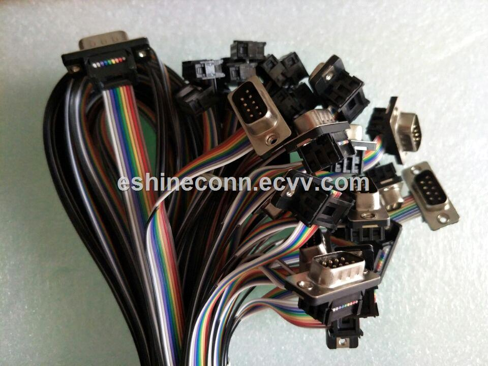 Equivalent Tyco TE 116585281 cable to DB9 ribbon cable to computer PCB