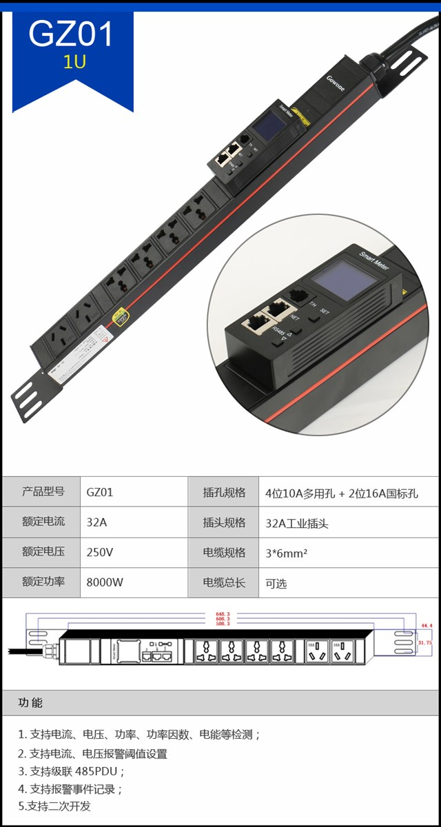 Industrial strip LED display current voltage power 16 a industrial connectors C13 C19 combination