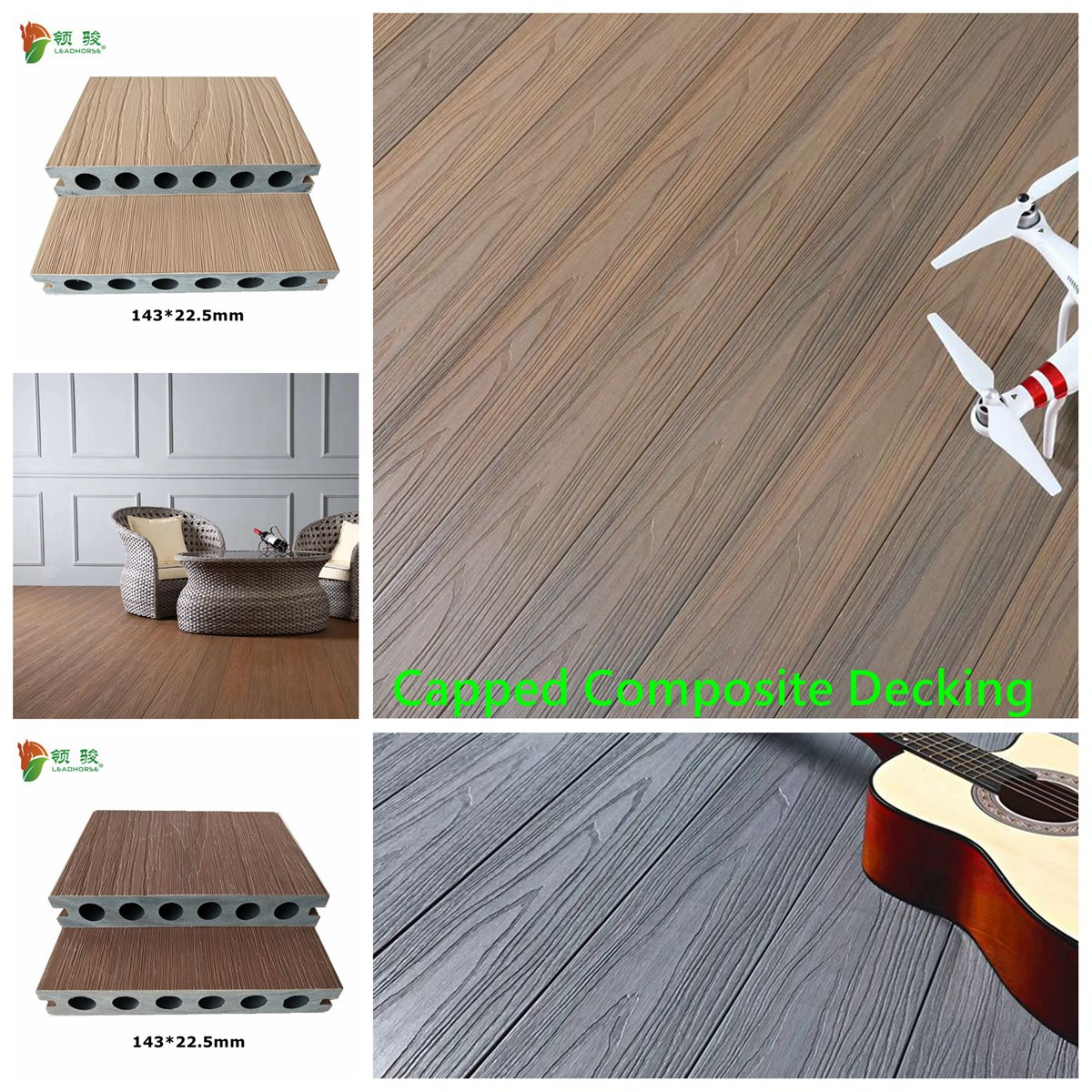 Coextrusion WPC Waterproof Hollow Decking 13823mm