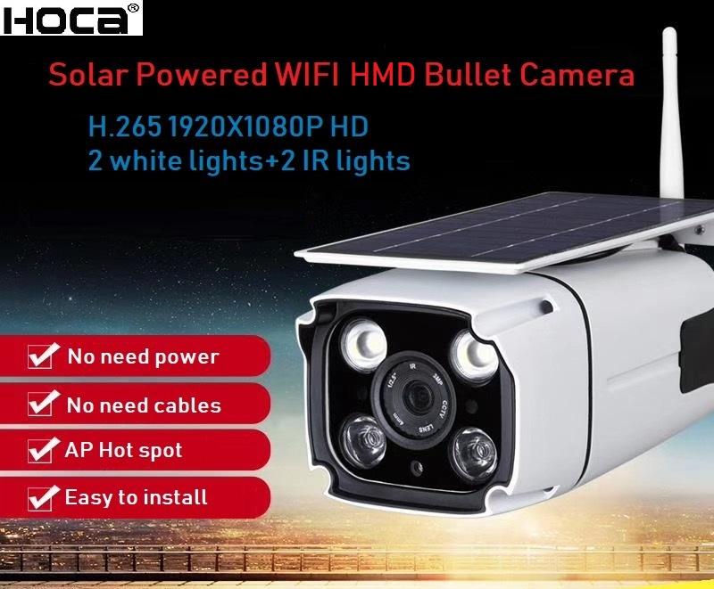 2Mp 1920x1080p Outdoor waterproof Wireless Solar powered HMD camera two ways audio WiFi IP IR bullet camera with SD slo