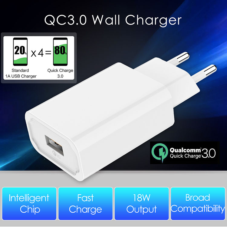 Mobile Phone Charger 18W USB Charger Single Port Adapter QC30 Quick Charge 30