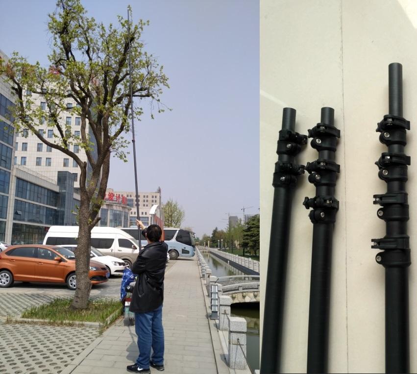 65ft carbon fiber extension pole for High altitude branch scissors fruit picking pole