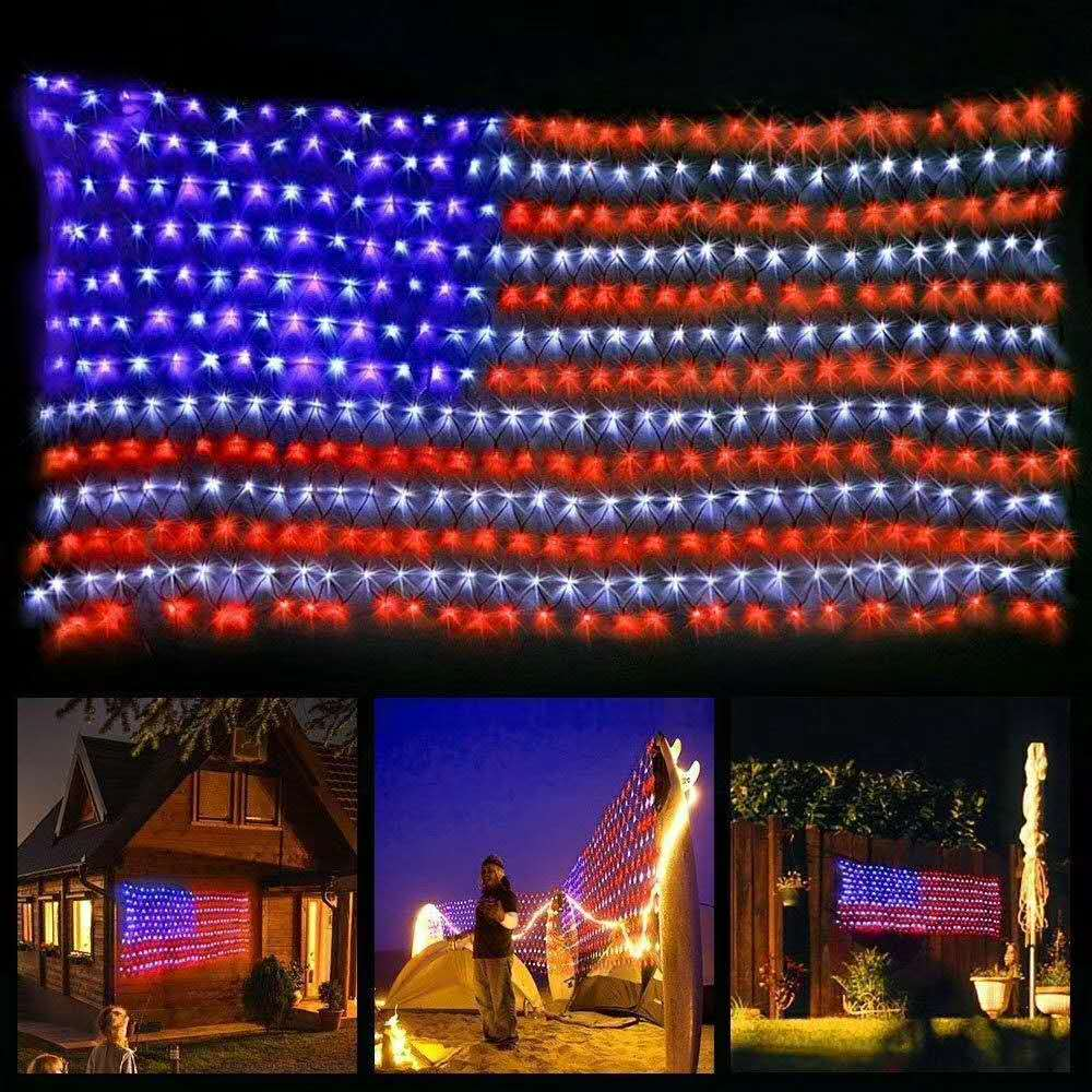 American Flag 390 LED String Lights Large USA Flag Outdoor Lights Waterproof Hanging Ornaments For Independence Day