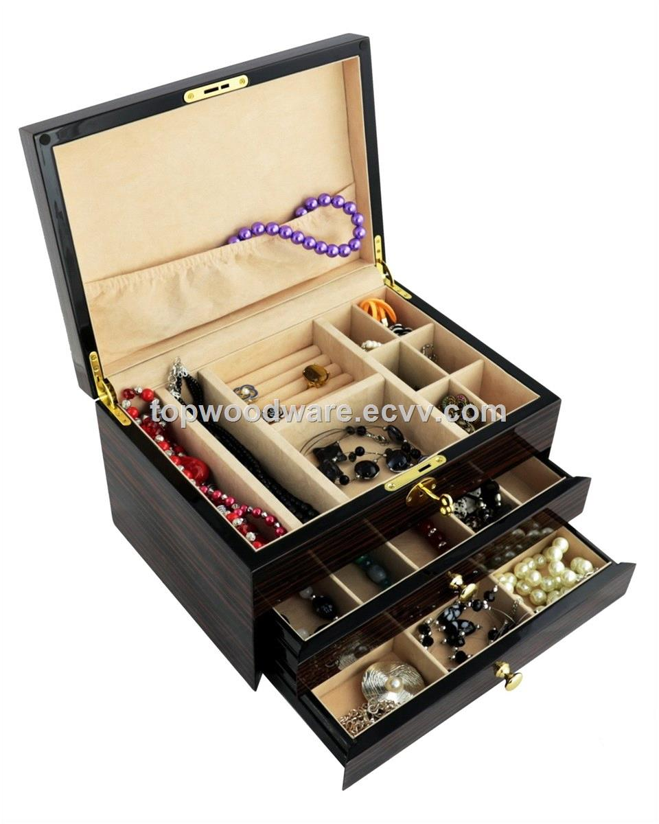 Luxury High gloss finish wooden gifts jewelry Storage Packaging wedding Gift box