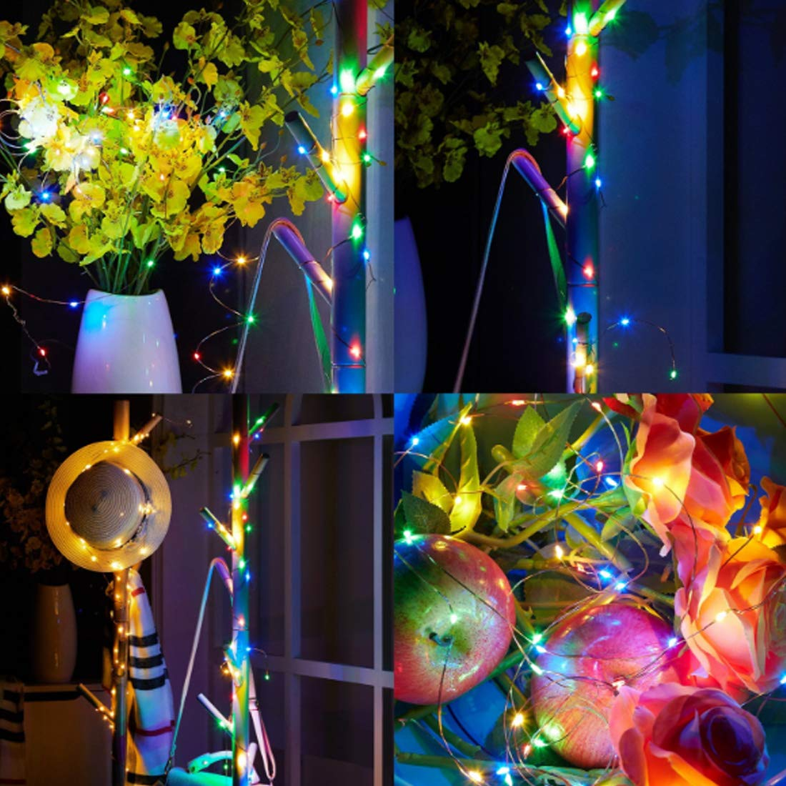Music String Lights 12 Modes Battery Operated Twinkle String Lights with Remote Timer for Bedroom Wedding Party