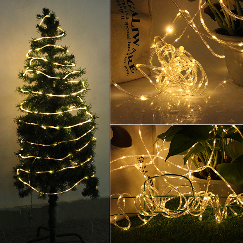 Solar Rope Lights Waterproof Copper Wire Lights Tube Outdoor Rope Lights for Garden Yard Path Fence Tree Wedding Party