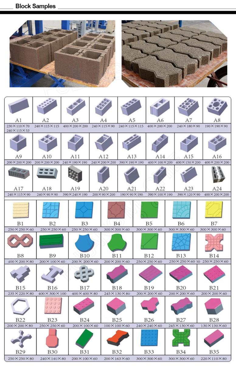 semiautomatic concrete cement hollow block paver brick making machine