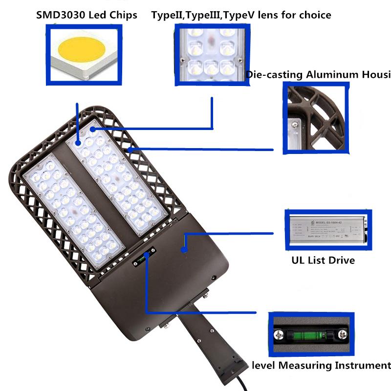 100w150w200w250w300w LED Outdoor Spot Lighting LED Shoebox Street Light Bright Outdoor Area lighting