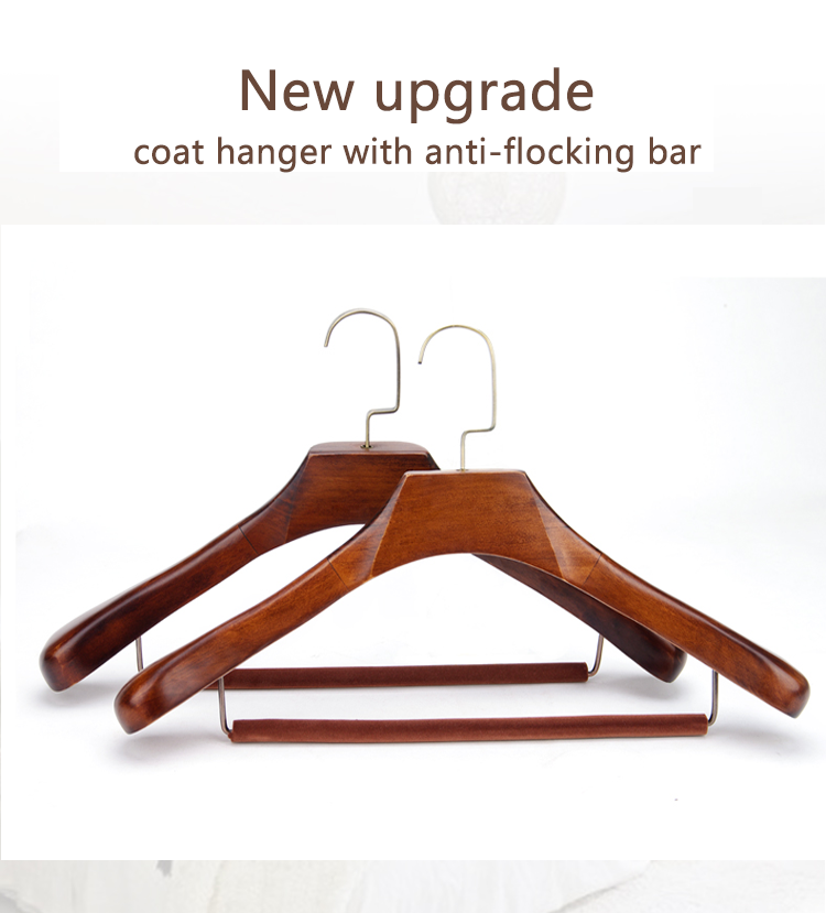 China Hangers Made With Flocking Bar Wooden Coat Hanger