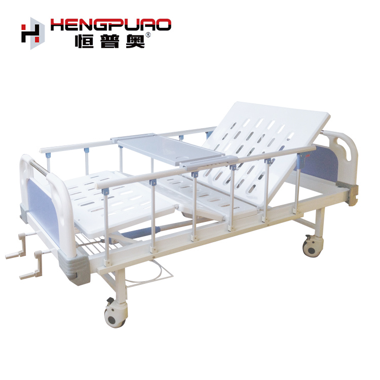 two cranks manual medical use full size adjustable hospital bed with mattress