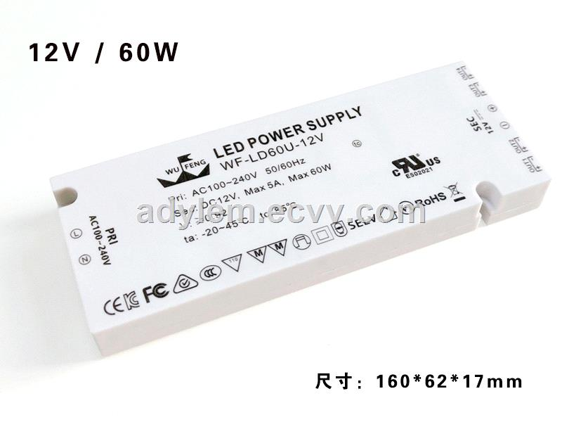 Ultrathin Plastic case constant voltage 12V 60w LED driver for cabinet