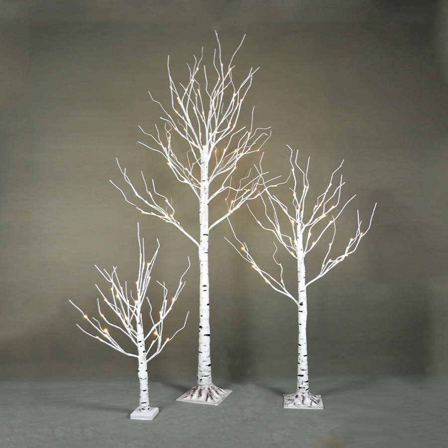 LED Artifical tree LED outdoor Christmas tree light 210CM 120L Outdoor White Birch Tree