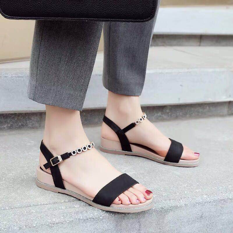 Sandals 2019 New Fashion gentle Roman Summer Fairy flat sole Womens shoes with 100 heels