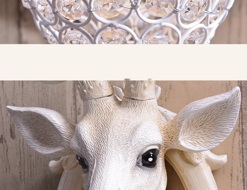 Personalized and creative deer head wall lamp decoration for north European TV headboard