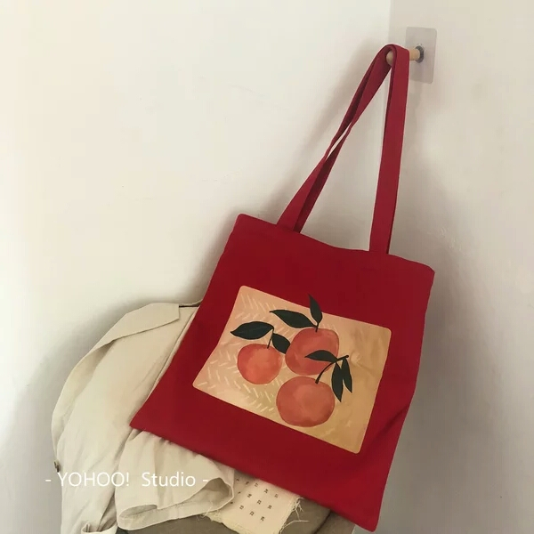 Wine red peach singlesided printed soft cloth double strap with canvas bag