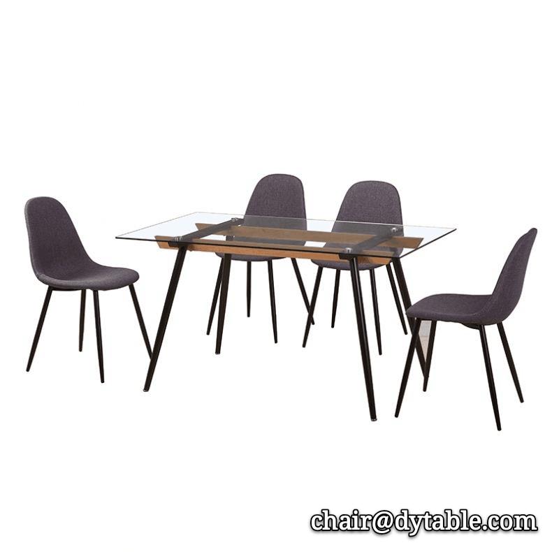 dining furniture rectangle transparent tempered glass top metal base