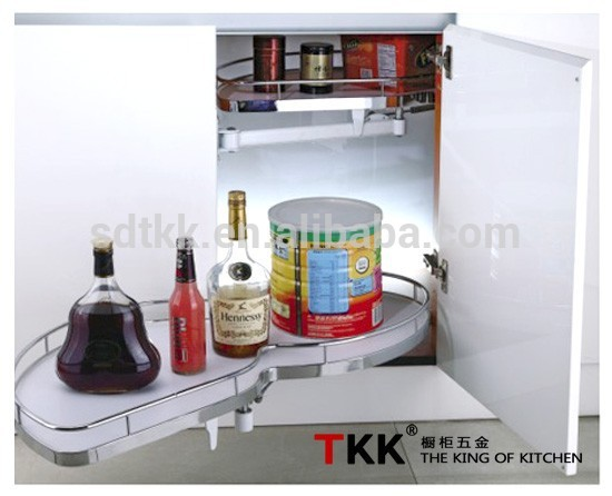 TKK kitchen magic corner MDF board swing tray with softstop storage basket
