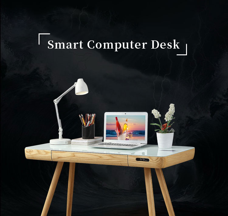 Wooden computer laptop Writing Desk Home Office Furniture Smart Table with Charger Speaker