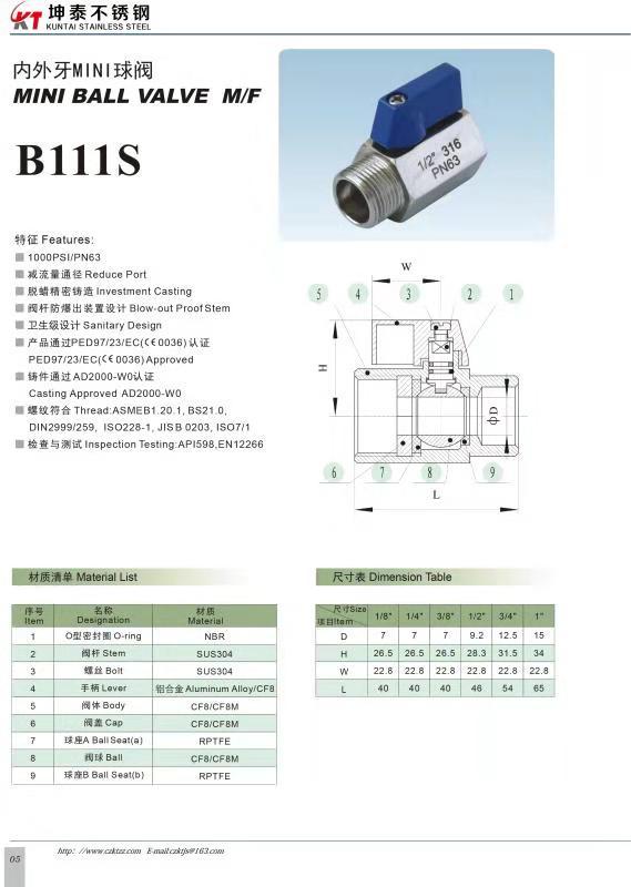 Stainless Steel 316304 Mini Ball Valve FxM