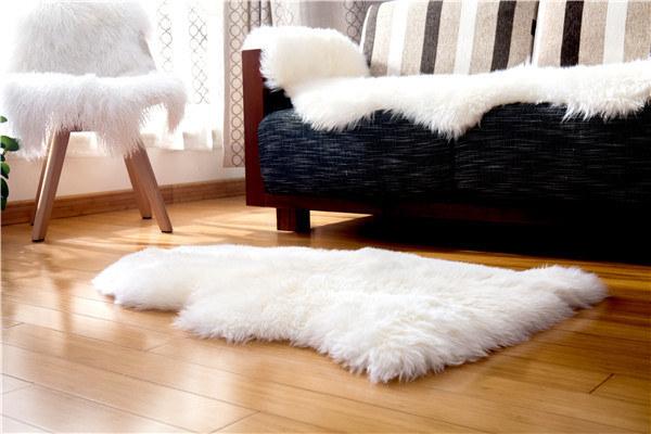 Sheepskin Carpet Rug Single Pelt Rug Lambskin Blanket for Bedroom