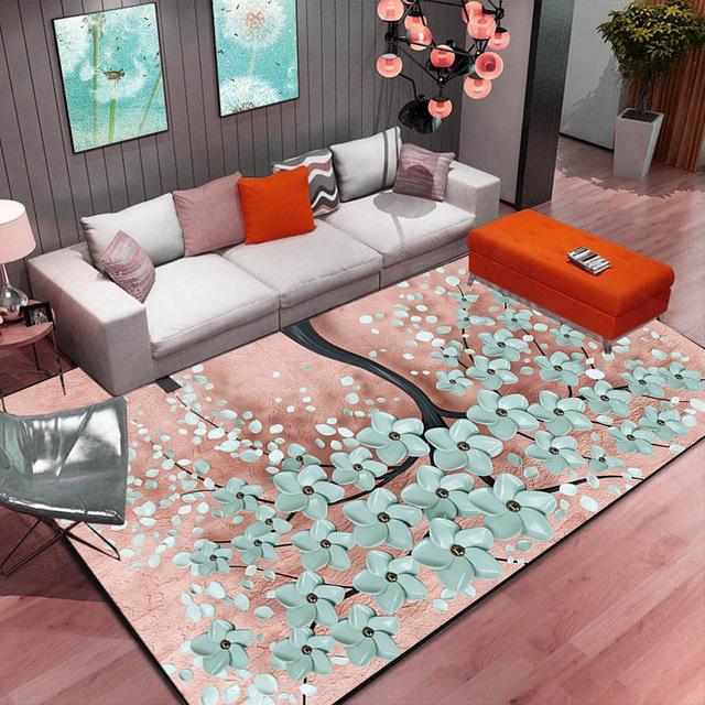 Abstract Flower Art Carpet For Living Room Bedroom Antislip Floor Mat Kitchen Carpet Area Rug