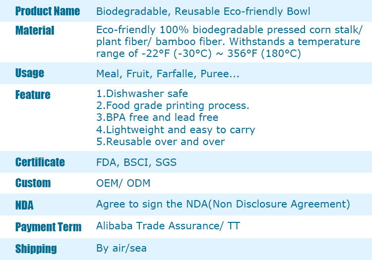 Customizable FDA biodegradable bowl BPA free fruit bamboo fiber bowl bio bamboo fiber bowl