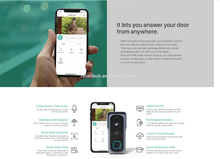 Rehent Tuya Battery power smart wifi doorbell camera two way audio talk night visionc video door bell 1080P