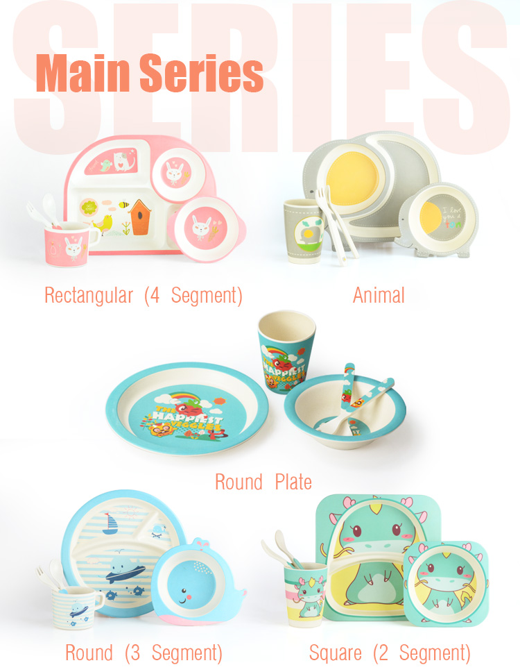 Cathylin New Arrival Bamboo Fiber Kids Dinnerware Set Cartoon Pattern Dinner Plates Set Unbreakable Dinnerware