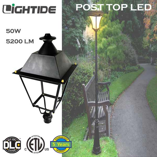 Outdoor Post Top Lights for Path Garden Lights 50W LED DLC QPL and 5 yrs warranty