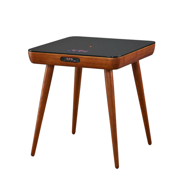 Top Glass coffee table Square Side Table with Bluetooth speaker wireless charger