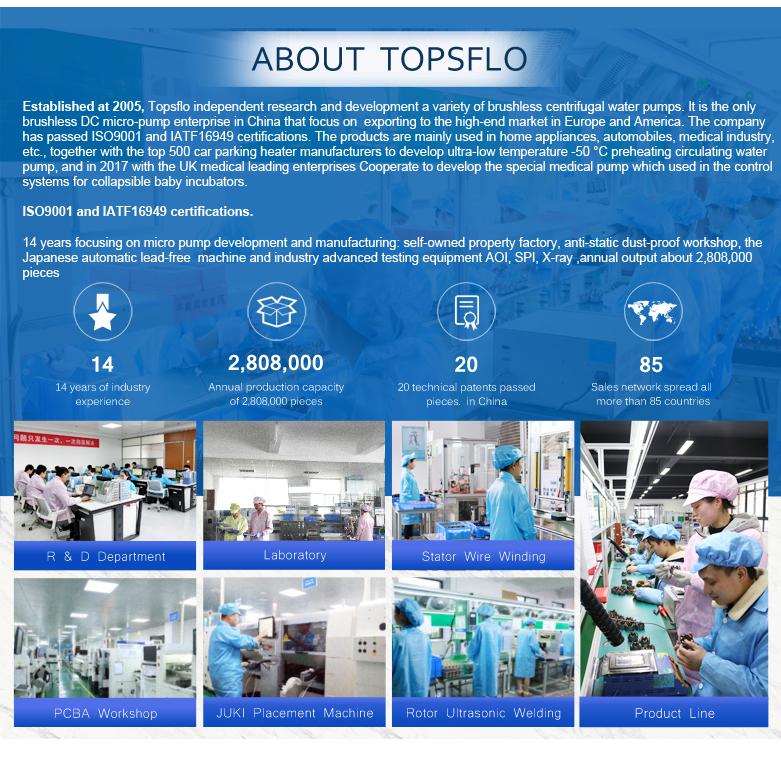 TOPSFLO 12v 24v dc motor water high pressure booster pump for showerwater heater pump