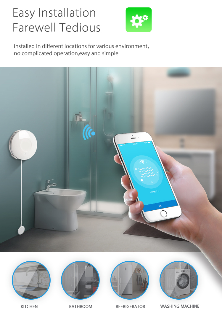 Rehent Smart Home automation WiFi Wireless detect water leakage sensor IP55 waterproof