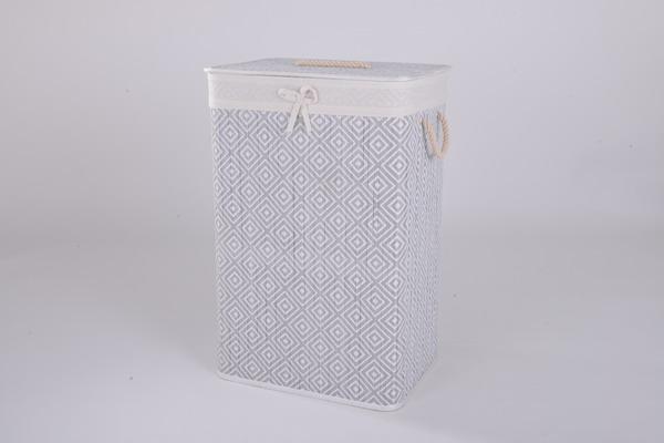 Foldable bamboo laundry basket with lid rectangle shape