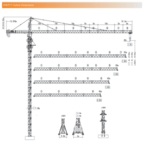 8t TC6010 hammer head tower crane 60m boom length topkit type frequency schneider invertor used in Indonesia