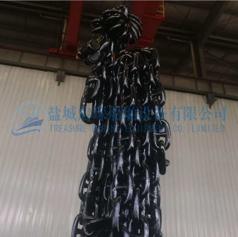 Black coated Studless and Stud Link Anchor Chain in stock
