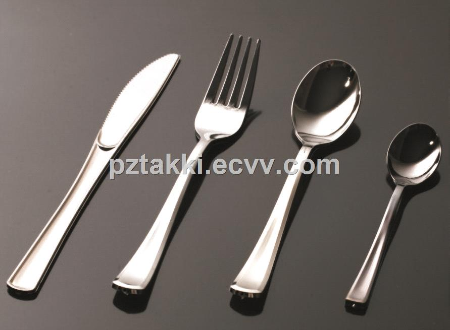 Disposable Elegant Silverware Knives Forks Spoons Plastic Tableware Cutlery Set For Party Wedding Heavy Work
