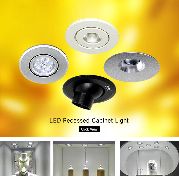 Aluminum DC12V recessed 5W led under cabinet spotlight lamp