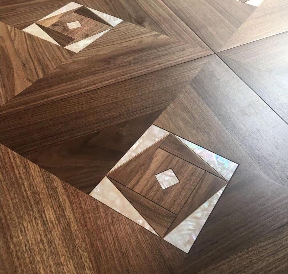 Engineered Wood Flooring with Shell inlay