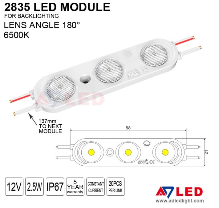 cerohs ul shenzhen manufacturer 3 lamp white smd 2835 waterproof injection light led module with lens