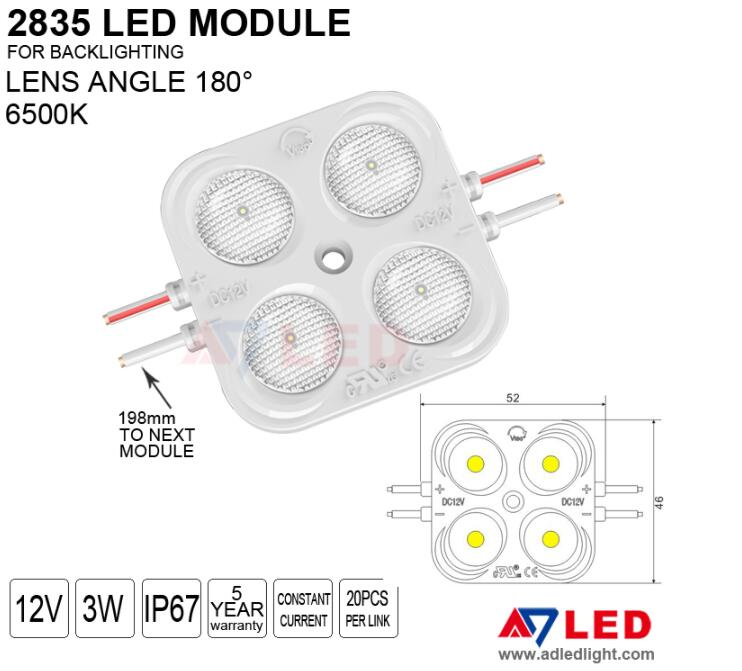 Backlit injection 5 years warranty outdoor waterproof 3w smd 2835 diode led module 12v