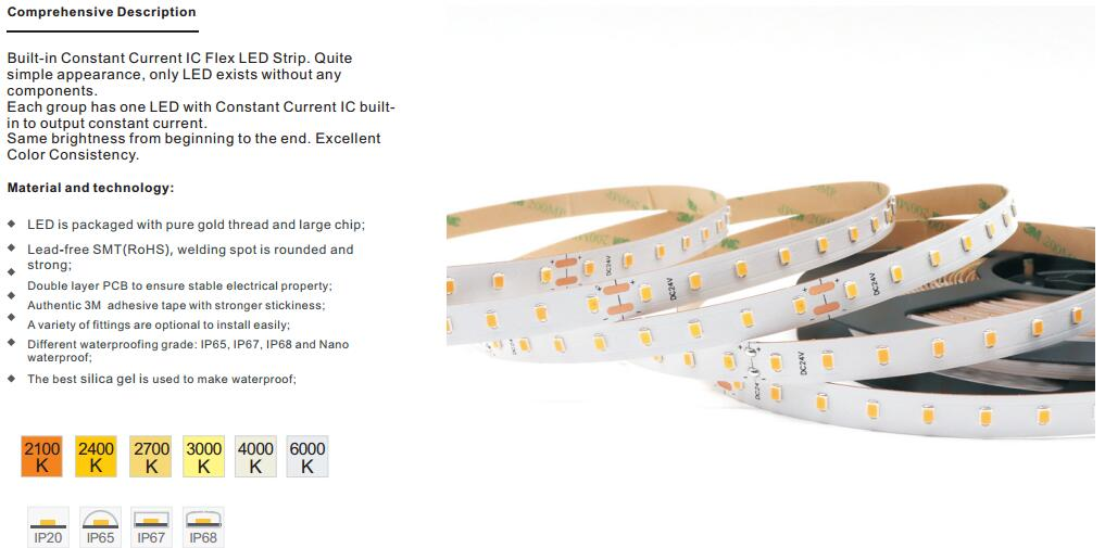 Builtin Constant Current IC 2835 LED Strip 80Ledsm high efficiency 160lumen per watt
