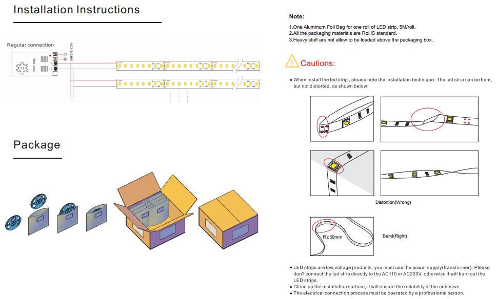 Builtin Constant Current IC 2835 led strip 120Leds per meter