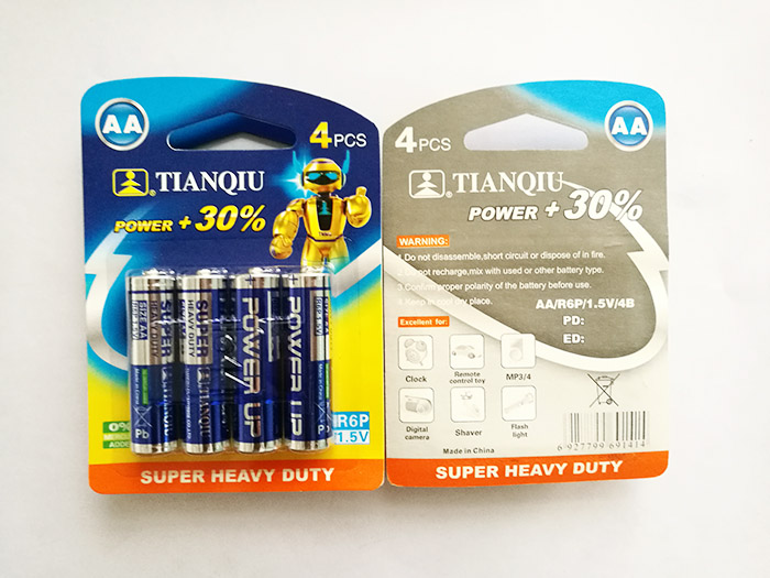 Tianqiu R6 battery super heavy duty AA carbon zinc R03 remote control battery factory