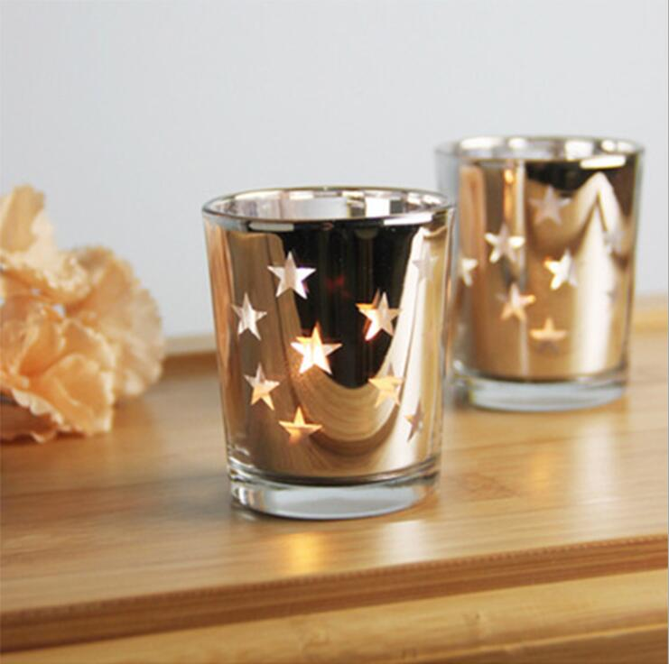 Star mercury glass candle holderjarcup tealight holder for wedding gift