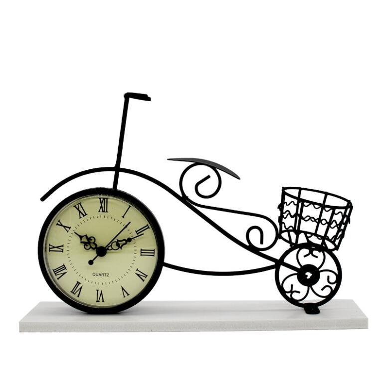 Vintage Metal Crafts black Decorative Metal Bicycle Table Clock