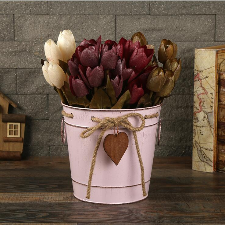 creative iron flower bucket with rope and heart hanging decoration metal flower vase